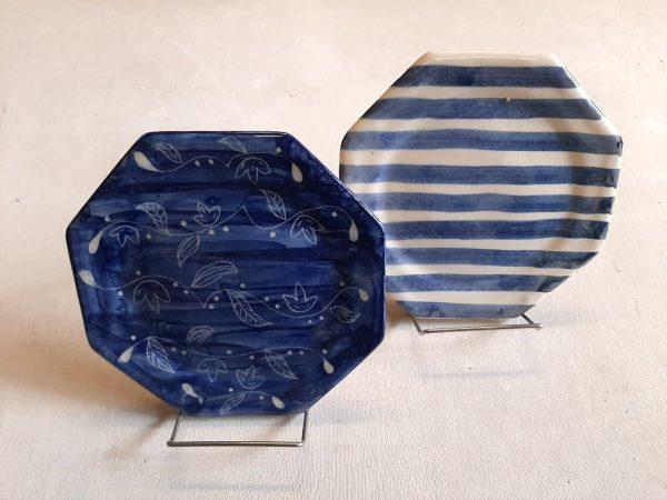 Plato octogonal de Postre de cerámica artesanal GEA