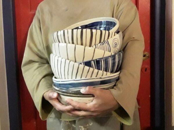 Fuente redonda de cerámica