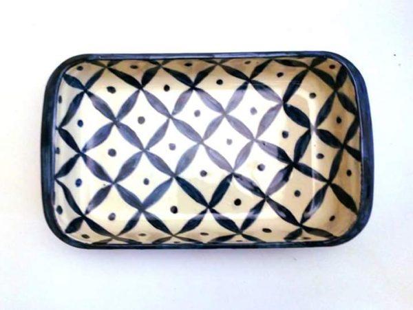 Fuente rectangular grande de cerámica artesanal