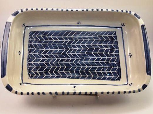 Fuente rectangular grande de cerámica artesanal 8